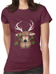 Stag with Holly Womens Fitted T-Shirt