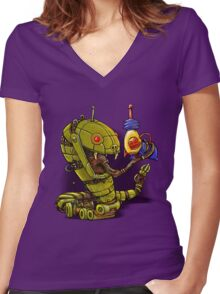 RobotReptileRaygun Women's Fitted V-Neck T-Shirt
