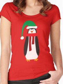 Cute Holiday Penguin Women's Fitted Scoop T-Shirt