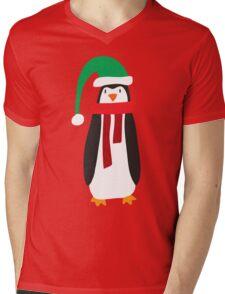 Cute Holiday Penguin Mens V-Neck T-Shirt