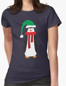 Cute Holiday Penguin Womens Fitted T-Shirt