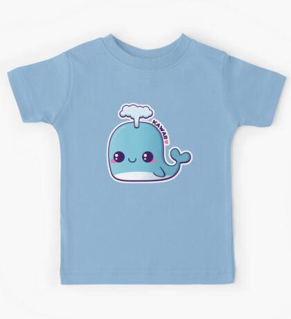 Kawaii Blue Whale Kids Tee