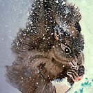 Squirrel and snowflakes by Heidi Mooney-Hill