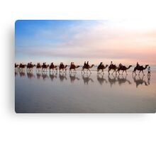 Camel Train at Dusk Canvas Print