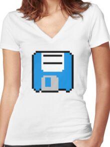 Floppy Disk - Blue Women's Fitted V-Neck T-Shirt