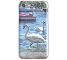 swans and boats at Christchurch harbour,UK iPhone Case/Skin