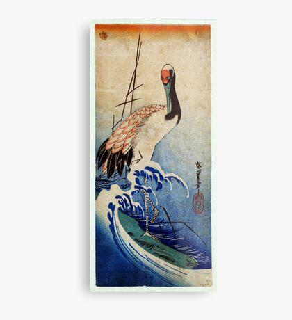 crane in waves 1835 Metal Print
