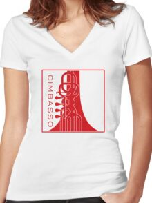 Cimbasso - Red Print Women's Fitted V-Neck T-Shirt