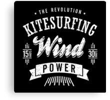 Kitesurfing Wind Power White Graphic Canvas Print