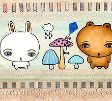 Cute Bunny & Bear Mixed Media Illustration by Pip Gerard