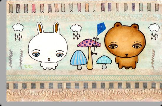 Cute Bunny & Bear Mixed Media Illustration by Pip Gerard