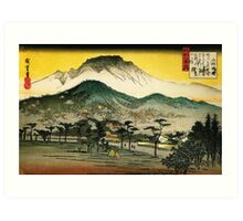 evening view of a temple in the hills Art Print