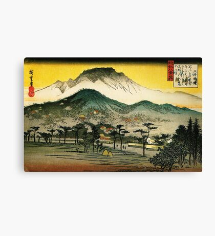 evening view of a temple in the hills Canvas Print