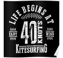 40 Knots Kitesurfing White Graphic Poster