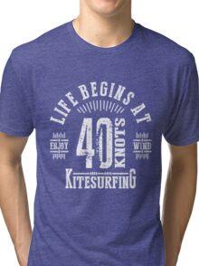 40 Knots Kitesurfing White Graphic Tri-blend T-Shirt