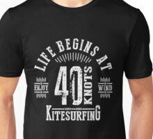 40 Knots Kitesurfing White Graphic Unisex T-Shirt