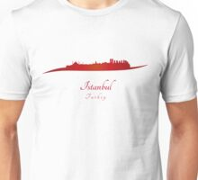 Istanbul skyline in red Unisex T-Shirt