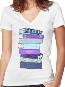 Stack of Blue Books Women's Fitted V-Neck T-Shirt