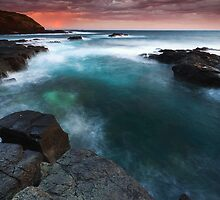 Burning Sky over Basalt - Flinders, Victoria, Australia by Sean Farrow