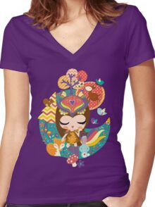 Deep in the forest - Nimi Collection Women's Fitted V-Neck T-Shirt