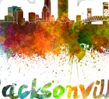 Jacksonville skyline in watercolor Sticker
