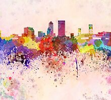 Jacksonville skyline in watercolor background by paulrommer