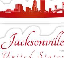 Jacksonville skyline in red Sticker