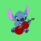 Stitch and a cello in green by eleanor89