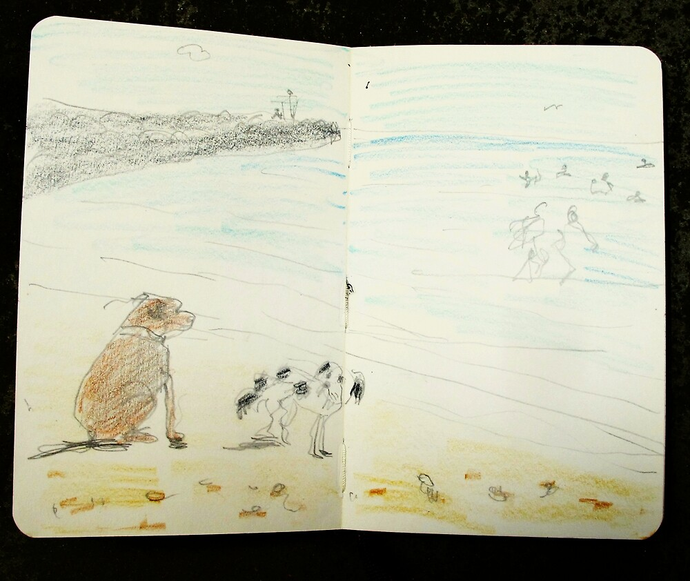 dogs on beach by donna malone