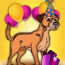 Border Terrier Dog Birthday Greeting Card by Moonlake