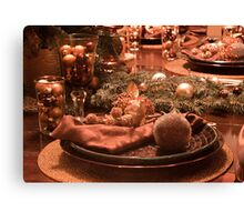 Christmas Place Setting; The Dinner Table Canvas Print