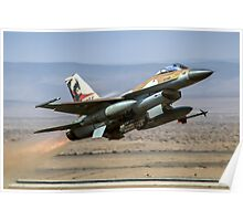 Israeli Air Force (IAF) F-16A (Netz) Fighter jet at takeoff  Poster