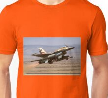 Israeli Air Force (IAF) F-16A (Netz) Fighter jet at takeoff  Unisex T-Shirt