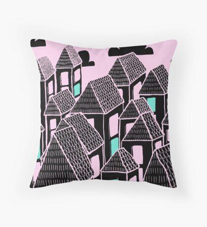 Pink city print Throw Pillow