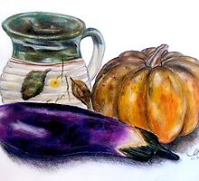 Pot and Vegetables - Still Life Illustration by EmilyZganiacz