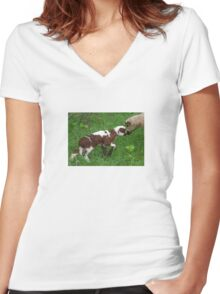 Cute Brown and White Lamb with Ewe Women's Fitted V-Neck T-Shirt