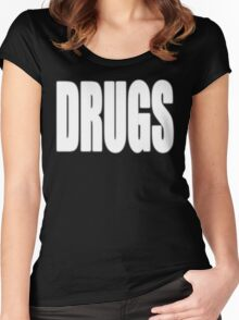 White DRUGS Women's Fitted Scoop T-Shirt