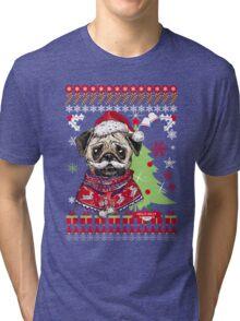Pug Christmas Sweater Tri-blend T-Shirt