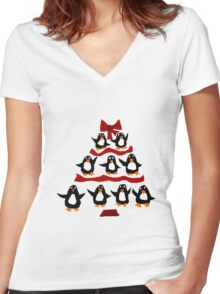 Cool Funny Penguin Christmas Tree Women's Fitted V-Neck T-Shirt