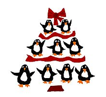 Cool Funny Penguin Christmas Tree Photographic Print