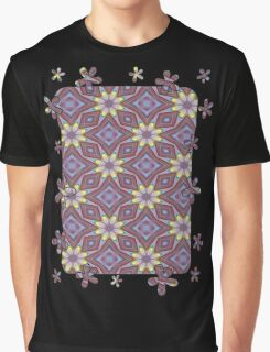 Yellow Flowers and Amethyst Diamonds Repeating Pattern Graphic T-Shirt