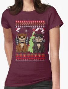 Pit bull Christmas Sweater Womens Fitted T-Shirt
