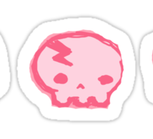 angry marshmallow and skull shirt Sticker