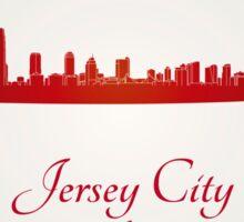 Jersey City skyline in red Sticker