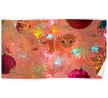 Kitty in a Christmas Tree Poster