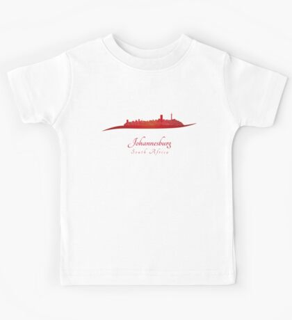 Johannesburg skyline in red Kids Tee
