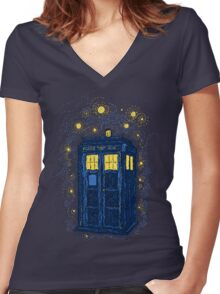Space Time Impressionism Women's Fitted V-Neck T-Shirt