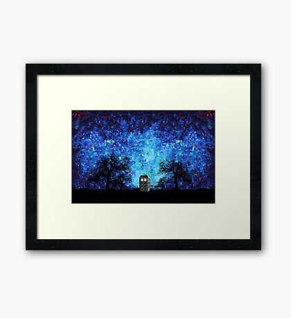 Lonely time travel phone box art painting Framed Print
