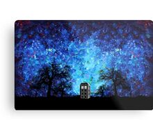 Lonely time travel phone box art painting Metal Print
