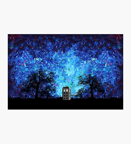 Lonely time travel phone box art painting Photographic Print